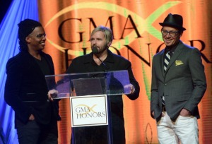Kevin Max (middle) with dc Talk at the GMA Honors event in April 2014