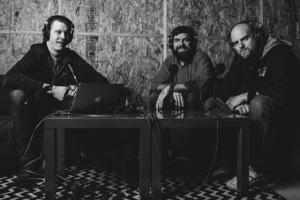 Matt Carter (far left), Toby Morrell, and Joey Svendsen of the BadChristian podcast
