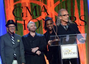 Pastor Guido (far right) with dc Talk at GMA honors