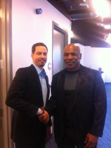 Chris Broussard (left) with Mike Tyson